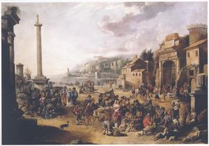 Zuidelijk landschap met Diogenes, een mens zoekend op de markt