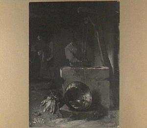Boerderij-interieur met een man bij een waterput