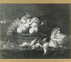 Stilleven van vruchten en gevogelte