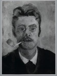 Zelfportret van Piet Meiners met pijp