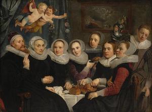 Portret van Theodorus Schrevelius en zijn gezin
