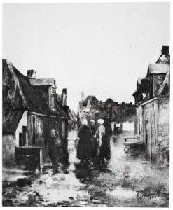 Vissersvrouwen in een straat in Egmond