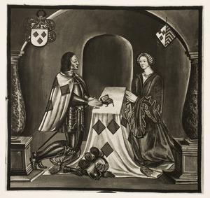 Dubbelportret van Jacob van Woude (....-1302) en Sophie van Egmond (....-1309)