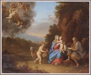 De heilige familie met Johannes de Doper en putti