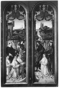 De HH. Laurentius en Sebastiaan met Jacobus en Vincentius Pauw en Petrus Sasz (links), de HH. Joris en Johannes de Evangelist met Digna Sasz (rechts)