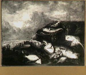 Visstilleven op het strand met kreeft, krab, schol, rog, kabeljauw en schelvis met op de achtergrond een dorpsgezicht