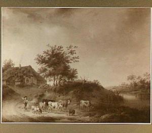 Herder met vee op een landweg bij een boerderij