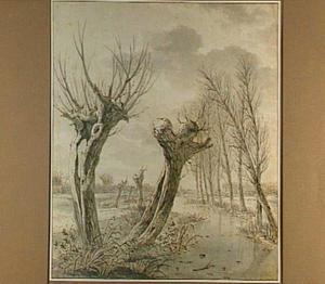 Landschap met knotwilgen langs een bevroren sloot