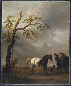 Landschap met plassend trekpaard naast een boer bij een kar
