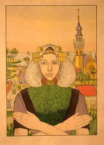 Portret van een  jonge vrouw uit Middelburg in klederdracht