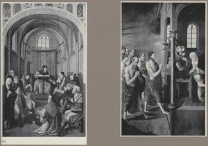 Christus als twaalfjarige in de tempel (binnenzijde), Christus verschijnt aan Maria (buitenzijde); de besnijdenis (binnenzijde), de opstanding (buitenzijde)