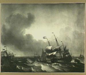 Hollandse driemaster, spiegelpaviljoensjacht en andere schepen voor een kust