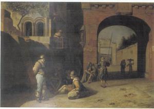 Wachtsoldaten bij een poort