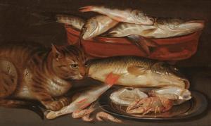 Visstilleven met oesters, rivierkreeft, garnalen en een kat