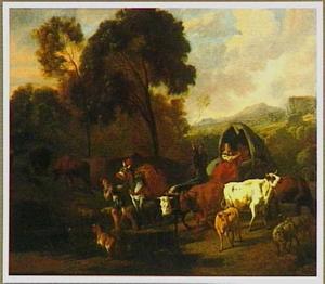 Reizigers onderweg in een berglandschap