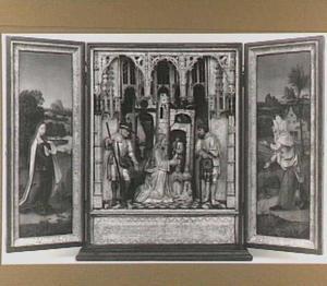 De visitatie: Maria (binnenzijde linkerluik); De aanbidding der herders (middendeel); De visitatie: Elisabeth (binnenzijde rechterluik)