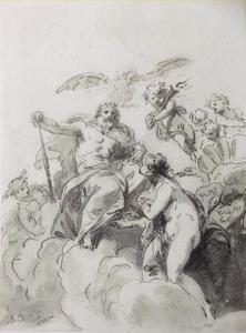 Venus smeekt Jupiter om bescherming van haar zoon Aeneas