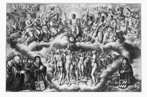 Het Laatste Oordeel met Christus op de regenboog, met links (gefantaseerde?) portretten van Pieter Hendricksz. van Slingelandt (....-1550)) en Cornelia Jacobsdr. van der Mee van Rosenburg (....-....) met hun negen kinderen; rechts mogelijk zijn vader Hendrick van Slingelandt (....-...) of  zijn oudste zoon Jacob Pietersz. van Slingelandt  (....-....)