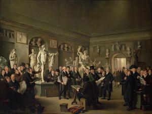 De beeldengalerij van de Maatschappij Felix Meritis te Amsterdam, met portretten van de commissarissen en directeuren van de Departementen Teekenkunde, Letterkunde en Koophandel en de secretarissen der Maatschappij