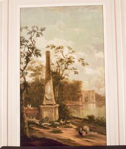 Parklandschap met obelisk en vogels
