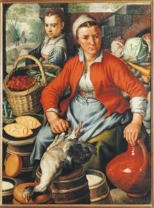 Marktvrouwen met groenten en gevogelte