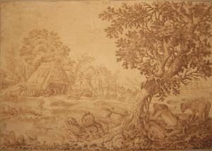 Landschap met boerderij en slapende figuur