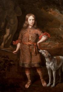 Portret van een jongen met een zwijnenspeer en een windhond