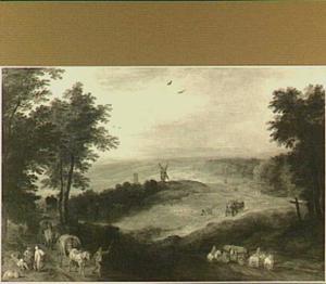 Panoramisch vergezicht over een heuvelachtig landschap met boeren, herders en reizigers