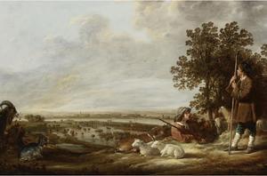 Landschap met twee herders en hun dieren; op de achtergrond  gezicht op overstroomde uiterwaarden van een rivier