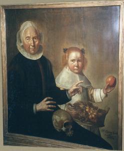 Portret van een oude vrouw en een meisje