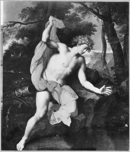 Narcissus zich spiegelend in het water wordt verliefd op zijn eigen spiegelbeeld