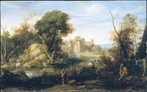 Arcadisch landschap met Mercurius fluitspelend voor Argus en Io