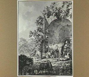 Landschap met herders en vee bij een ruïne (geïnspireerd op de ruïne van kasteel Brederode?)