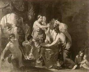 Thetis dompelt de kleine Achilles in het water van de Styx