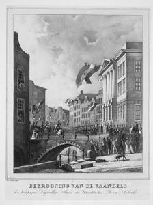 Bekroning van de vaandels der kompagnie Vrijwillige Jagers der Utrechtsche Hooge School op 21 september 1831 (authentiek)
