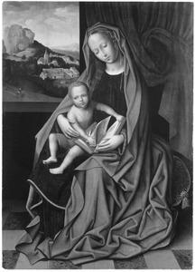Maria met kind gezeten in een interieur; door het raam een zicht op een rotslandschap met de vlucht naar Egypte