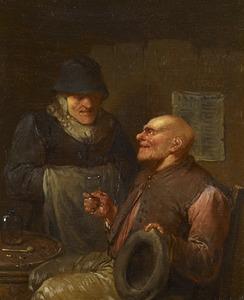 Pratende en drinkende boeren in een interieur