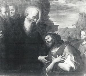De heilige Benedictus ontvangt Totila, koning van de Oostgoten