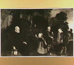 Portret van Gerritgen Dircksdr. Poelenburch (1550-1630) en haar kleinkinderen Pieter Tulp(1618-1645), Egbert Tulp (1619-....) en Catharina Tulp(1622-1664)