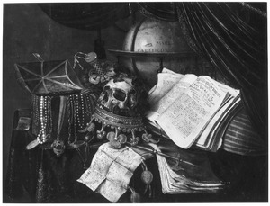 Vanitasstilleven met een geopende juwelenkist, horloge, een gelauwerde schedel op een omgekeerde kroon, scepter, muziekinstrumenten, stokbeurs en globe