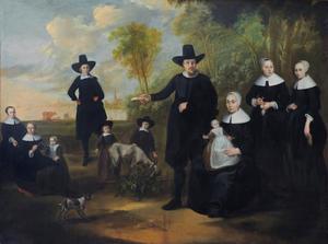 Groepsportret van een onbekende familie in een rivierlandschap met een stad in de achtergrond
