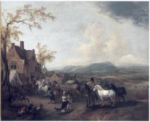 Heuvellandschap met markt in een dorp, in de vlakte een legerkamp