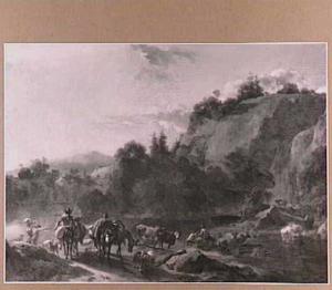 Berglandschap met herders en vee, die een rivier doorwaden