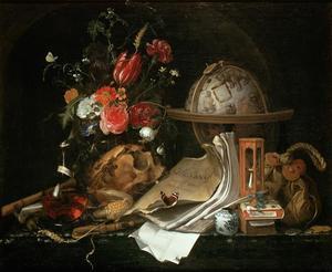 Vanitas-stilleven met een schedel, boeken, bloemen in een glazen vaas en een hemelglobe