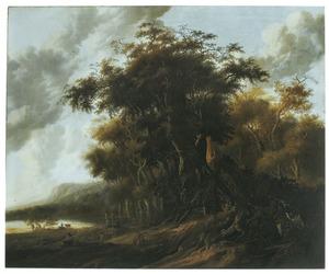 Boslandschap met bij een hut rustende reizigers en herders