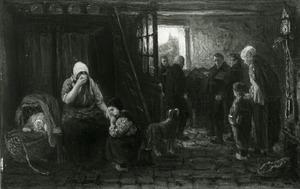 Interieur met rouwend gezin en een weggedragen doodskist