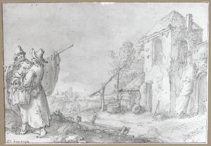 Een toren en twee figuren in Montfoort