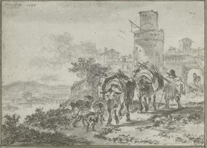 Italianiserend landschap met bepakte ezels