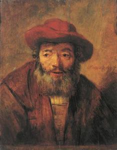 Halffiguur van een man met rode hoed