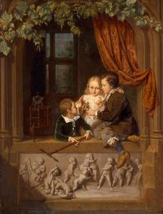 Drie kinderen in een venster